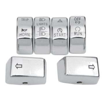 Chrome 6 Pc Switch Cap Set for 2012 & Newer Harley-Davidson Softail Dyna models