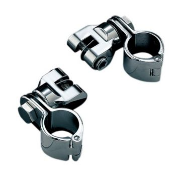"Kuryakyn Chrome Magnum Quick Clamp Foot Peg Mounts for Harley-Davidson models with 1 1/2"" tube"