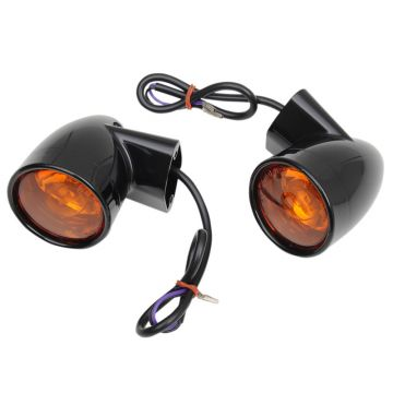 Gloss Black Bullet Style Rear Turn Signals for 1997 and Newer Harley-Davidson Touring models