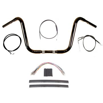 "1 1/4"" BBlack 10"" Ape Hanger Handlebar Kit 2012-2017 Harley-Davidson Dyna w/ABS"