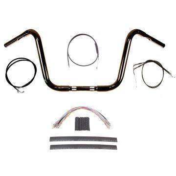 "1 1/4"" BBlack 10"" Ape Hanger Handlebar Kit 2012-2017 Harley-Davidson Dyna No ABS"