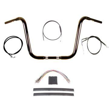"""1 1/4"""" BBlack 14"""" Ape Hanger Handlebar Kit 2004-2013 Harley-Davidson Sportster"""