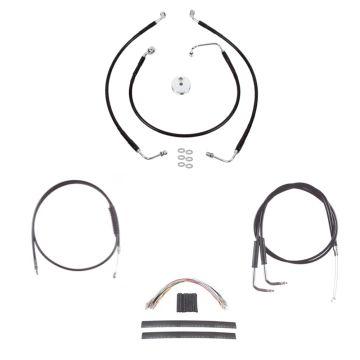 """Black +12"""" Cable & Brake Line Cmpt DD Kit for 2004-2008 Harley-Davidson Sportster Roadster models"""
