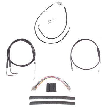 "Black +10"" Cable & Brake Line Cmpt Kit for 2012 & Newer Harley-Davidson Dyna with ABS brakes"