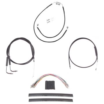 "Black +12"" Cable & Brake Line Cmpt Kit for 2012 & Newer Harley-Davidson Dyna with ABS brakes"