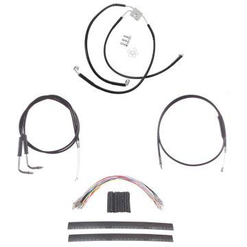 "Black +12"" Cable & Brake Line Cmpt DD Kit for 2012 & Newer Harley-Davidson Dyna with ABS brakes"
