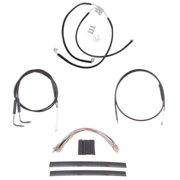 "Black +8"" Cable & Brake Line Cmpt DD Kit for 2012 & Newer Harley-Davidson Dyna with ABS brakes"