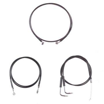 """Basic Black Cable Brake Line Kit for 12"""" Tall Ape Hanger Handlebars on 2003-2006 Harley-Davidson Softail Deuce Fat Boy CVO models"""