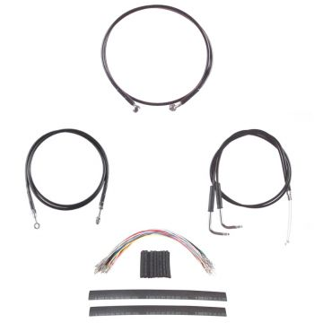 """Black Cable & Brake Line Complete kit for 12"""" Apes 2007-2008 Harley-Davidson Dyna Super Glide CVO models"""