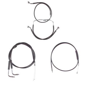 "Basic Black Cable Brake Line Kit for 14"" Handlebars on 1996-2001 carbureted Harley-Davidson Touring Models with Cruise Control"