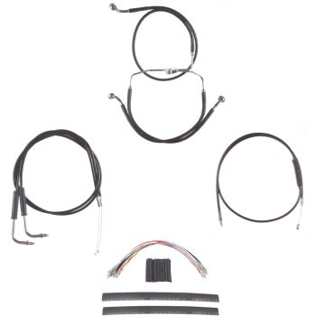 "Black +12"" Cable & Brake Line Cmpt DD Kit for 2006 & Newer Harley-Davidson Dyna without ABS brakes"