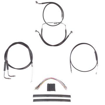 """Black +8"""" Cable & Brake Line Cmpt DD Kit for 1996-2005 Harley-Davidson Dyna models"""
