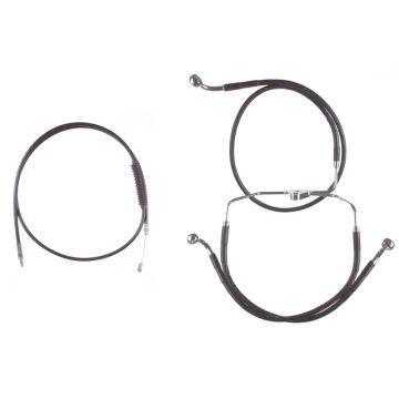 "Black +12"" Cable & Brake Line Bsc Kit for 2014-2016 Harley-Davidson Road King models without ABS brakes"