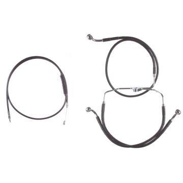 "Basic Black Cable Brake Line Kit for 16"" Handlebars on 2008-2013 Harley-Davidson Touring Models without ABS Brakes"