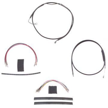 "Complete Black Cable Brake Line Kit for 12"" Handlebars on 2008-2013 Harley-Davidson Touring Models with ABS Brakes"