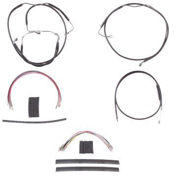 "Black +14"" Cable Brake Line Mstr Kit for 2008-2013 Harley-Davidson Touring with ABS brakes"