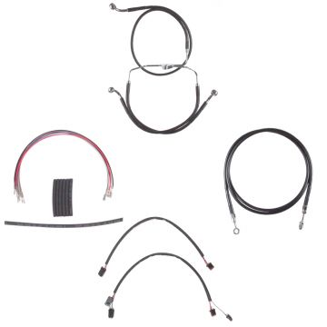 """Black +6"""" Cable & Brake Line Cmpt Kit for 2014-2015 Harley-Davidson Street Glide, Road Glide models without ABS brakes"""