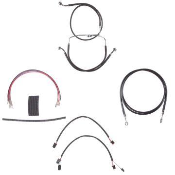 """Black +12"""" Cable & Brake Line Cmpt Kit for 2014-2015 Harley-Davidson Street Glide, Road Glide models without ABS brakes"""