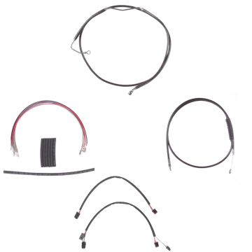 "Black +4"" Cable & Brake Line Cmpt Kit for 2014-2016 Harley-Davidson Road King models with ABS brakes"