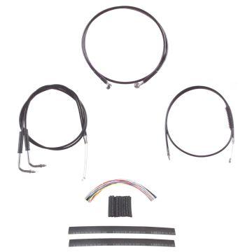 "Complete Black Cable Brake Line Kit for 14"" Tall Handlebars on 1990-1995 Harley-Davidson Softail Models"