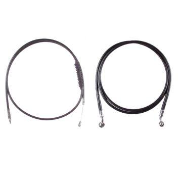 "Basic Black Cable Brake Line Kit for 16"" Handlebars on 2016-2017 Harley-Davidson Softail Models without ABS Brakes"