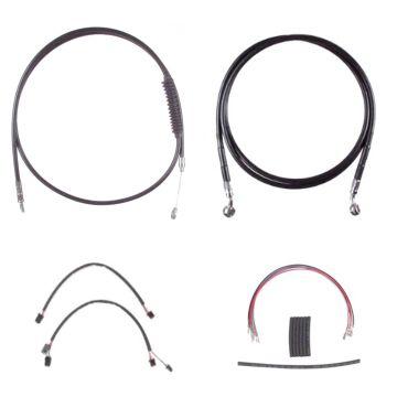 "Complete Black Cable Brake Line Kit for 14"" Handlebars on 2016-2017 Harley-Davidson Softail Models without ABS Brakes"