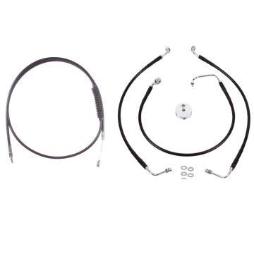 "Basic Black Cable Brake Line Kit for 18"" Handlebars on 2018-2019 Harley-Davidson Softail Fat Bob models without ABS Brakes"