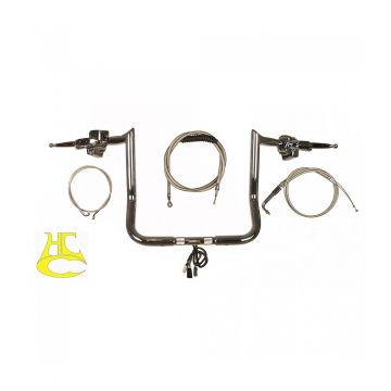 "Paul Yaffe 1 1/4"" Monkey Bar COMPLETE Handlebar Kit for 2014-2021 Harley Electra Glide, Street Glide, Ultra Classic"