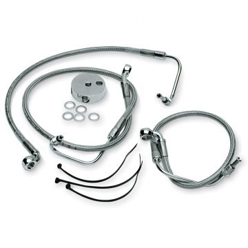 """+12"""" Over Stock Front Stainless Braided Brake Line for 1999-2005 Harley-Davidson Dyna FXDX/T Dual Disc Brake models"""