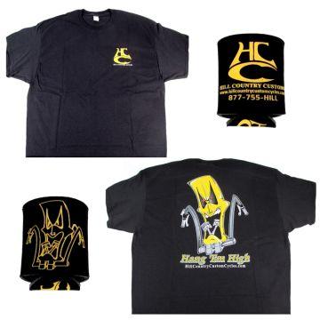 Hill Country Custom Cycles Medium Black Logo T-Shirt with Black Koozie set