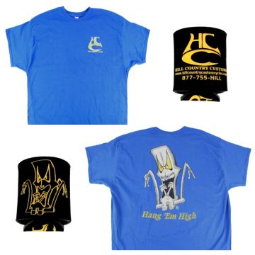 Hill Country Custom Cycles Medium Blue Logo T-Shirt with Black Koozie set