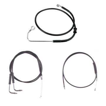 "Basic Black Cable Brake Line Kit for 16"" Handlebars on 2011-2015 Harley-Davidson Softail Models with ABS Brakes"