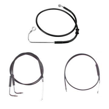 "Basic Black Cable Brake Line Kit for 13"" Handlebars on 2011-2015 Harley-Davidson Softail Models with ABS Brakes"