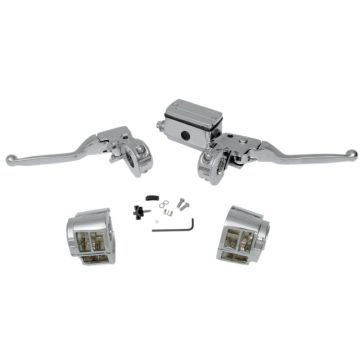 Chrome Handlebar Control Set for 1982-1995 Harley-Davidson models with Dual Disc brakes