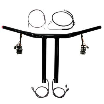 "1 1/4"" BBlack 12"" Chopper T Prewired Handlebar Kit 2016-2017 Harley Softail wABS"