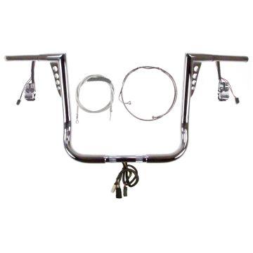 HCC HOT SHOT Ape Hanger PREWIRED Handlebar KIT for 1990-2013 Street Glide, Electra Glide, and Ultra Classic Harley Davidson