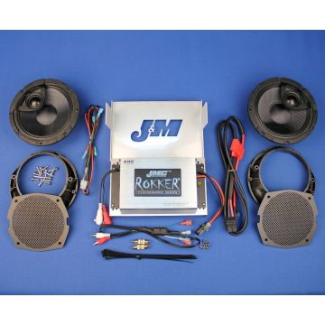 "J&M Rokker 200 Watt, 2 Channel Amp, 6.58"" Fairing Speaker kit 2006-2013 Harley-Davidson Street Glide, Ultra Limited, Trike models"