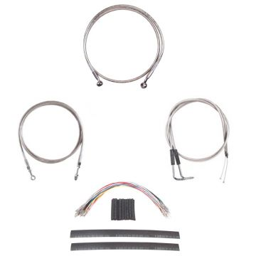 """Stainless Braided +4"""" Cable and Line Complete Kit for 2007-2009 Harley-Davidson Softail Springer CVO models with hydraulic clutch"""