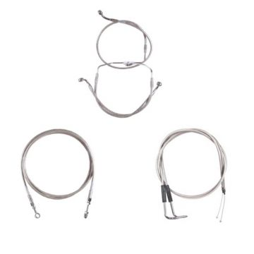 """Stainless Braided +12"""" Cable & Line Bsc Kit for 2009-2010 Harley Dyna Fat Bob CVO"""