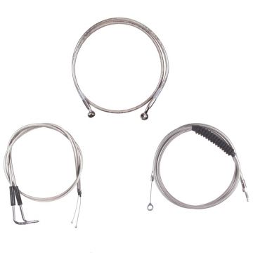 "Basic Stainless Cable Brake Line Kit for 12"" Handlebars on 2007-2015 Harley-Davidson Softail Models without ABS Brakes"