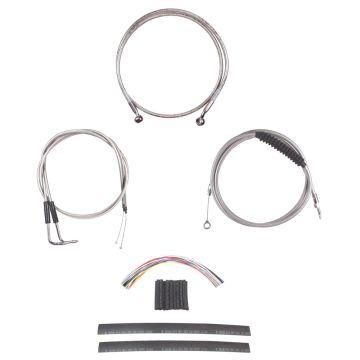 "Complete Stainless Cable Brake Line Kit for 14"" Tall Handlebars on 1990-1995 Harley-Davidson Softail Models"