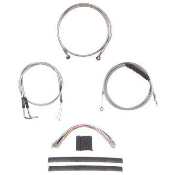 "Complete Stainless Cable Brake Line Kit for 12"" Tall Handlebars on 1996-2006 Harley-Davidson Softail Models"