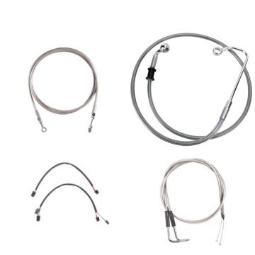 """Complete Stainless Braided +12"""" Cable and Line Kit for 2011-2015 Harley-Davidson Softail CVO models with a hydraulic clutch and ABS brakes"""