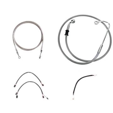 "Complete Stainless Braided +12"" Clutch and Brake Line Kit for 2016-2017 Harley-Davidson Softail Breakout CVO models with a hydraulic clutch and with ABS brakes"