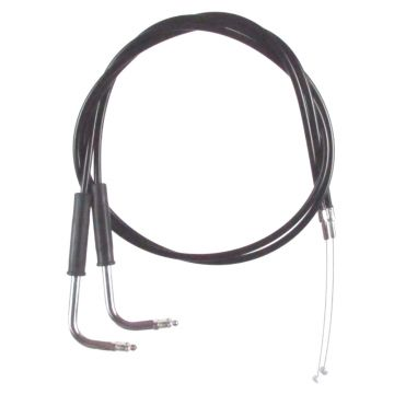 """Black Vinyl Coated +4"""" Throttle Cable set for 2004-2007 Harley-Davidson Road King FHLRS models without Cruise Control"""