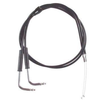 "Black Vinyl Coated +4"" Throttle Cable set for 2002-2007 Harley-Davidson FLHTCI & FLHTCU/I models with Cruise"