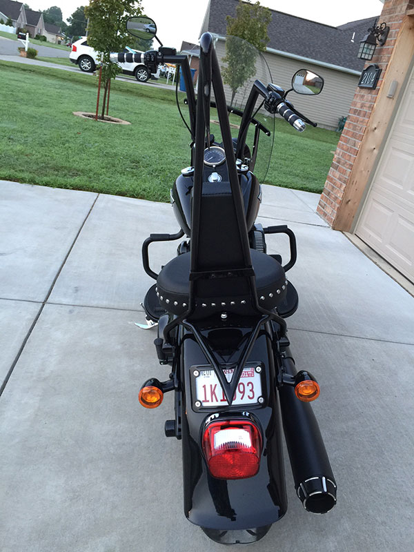 2016 Softail Fat Boy special with 16 inch HCC Hell Bent Handlebars gloss black COMPLETE Plug & Play Kit