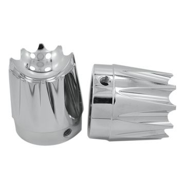 RC Components Chrome Excalibur Front Axle Nut Covers for 2000-2007 Harley-Davidson Touring Models
