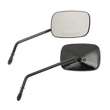 "Black Rectangular 5"" x 3.5"" OEM Style Long Stem Mirrors for Harley-Davidson models"