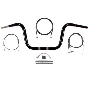 "1 1/4"" BBlack 10"" Ape Hanger Handlebar Kit 2007-2011 Harley Dyna Wide Glide"